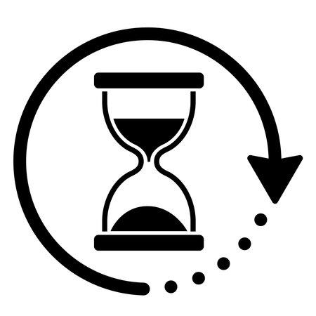 Hourglass and rotating arrow icon