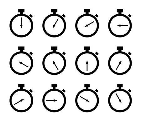 Stopwatch icon 12 variation set