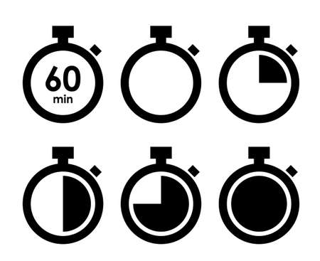 Stopwatch icon and timer variation set