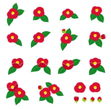 camellia various illustration icon set