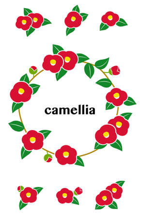 Camellia ring frame illustration and icon