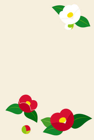 Postcard template of camellia illustration Иллюстрация