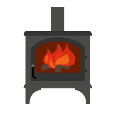 Wood stove and fire illustration vector icon Иллюстрация