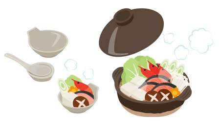 set of japanese pot dishes illustration (Shrimp, salmon, vegetable)