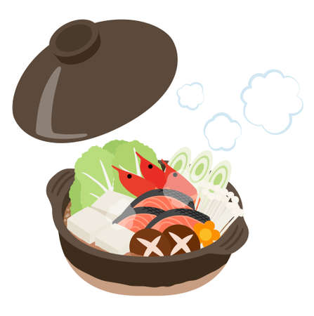 japanese pot dishes illustration (Shrimp, salmon, vegetable)