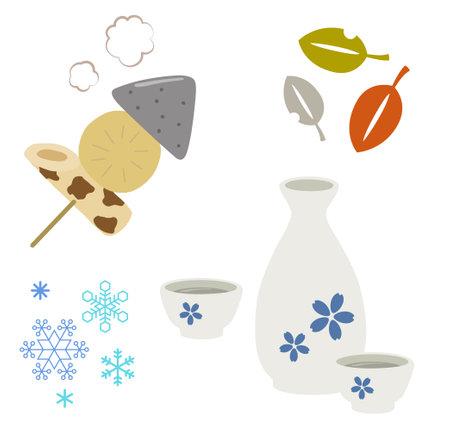 "oden and sake set ""sake"" is japanease traditional alcohol drink. ""oden"" is japanease traditional Simmered dishes.and there is fish paste, radish and konnyaku. 矢量图像"