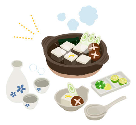 """tofu hot pot and sake set with Condiment """"tofu"""" is japanease traditional ,food soybean curd."""" sake"""" is japanease traditional alcohol drink. 向量圖像"""