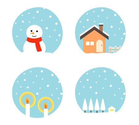 Winter landscape and icon illustration set