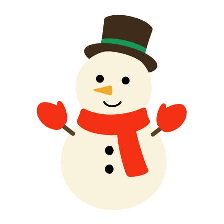Illustration of a snowman wearing a hat