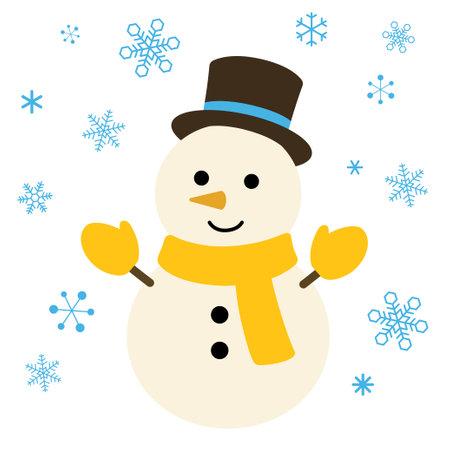 Snow crystal and snowman illustration Иллюстрация