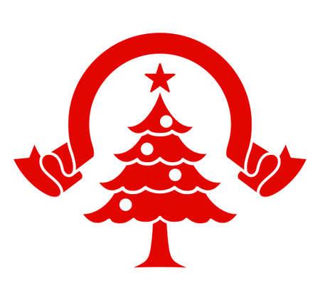 Christmas tree and ribbon illustration