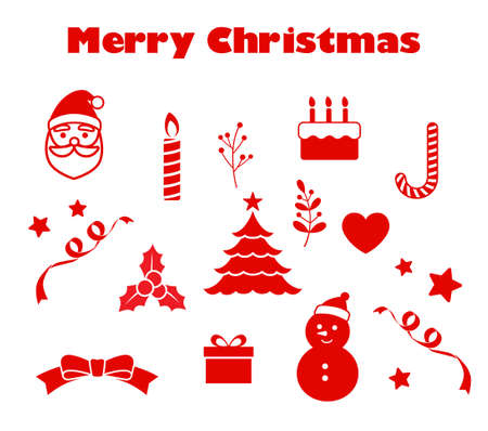 Christmas icon set red tone