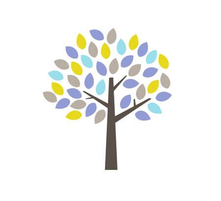 Illustration of autumn and winter tree