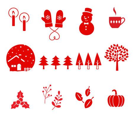 Winter xmas icon Set, red Tone