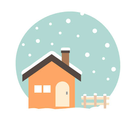 House and winter snow scene