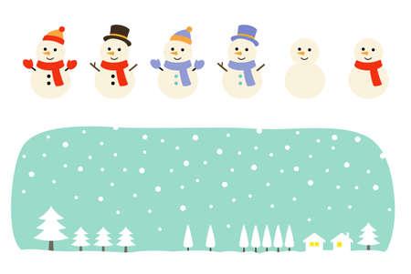Snowman and winter landscape set