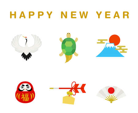 Crane and Tortoise New Year's Gift Illustration Set