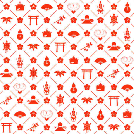 New Year Illustration (Crane and Turtle) Seamless Pattern