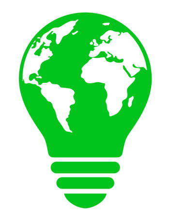 Ecology image with a light bulb mark depicting the earth Vectores