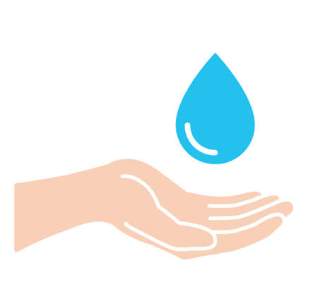 Palm and water drop icon