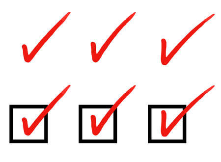 Sign of Handwritten checkmark and checkbox Vectores