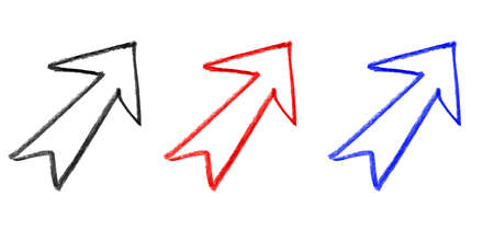 Hand drawn arrow icon variation set Vectores