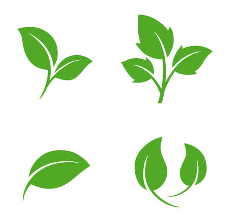 Green leaf illustration icon set