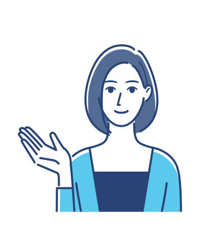Illustration of a woman with a Prompting gesture