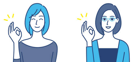 Woman giving an OK sign Illustration set