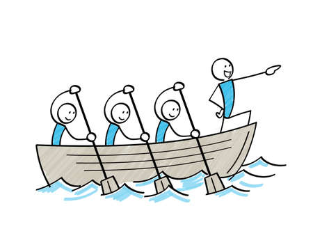 Stick figure sailing in group by rowing boat Vectores