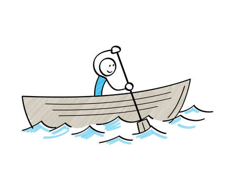 Stickman sailing in a boat