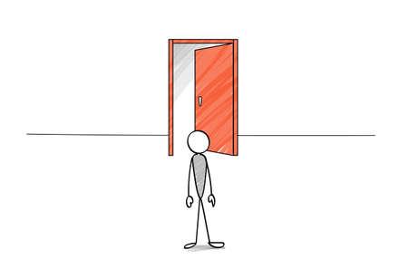 Open door and stick figure