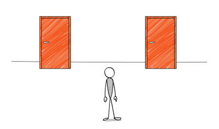 Two doors and stick figure