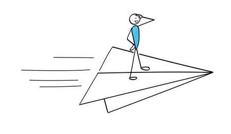 Stickman flying on a paper plane 일러스트