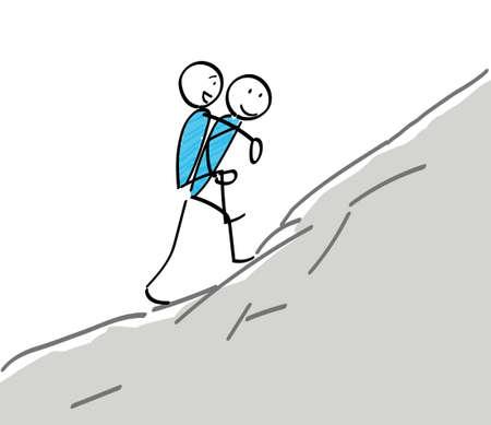 Stickman climbing with a piggyback ride 일러스트