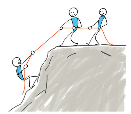 Stickman helping mountain climbing with a rope