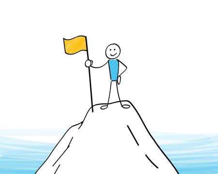 Stickman raises a flag on the mountaintop
