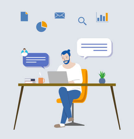 Man working from home and icon (table, chair and laptop)