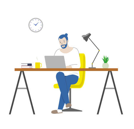 Man working from home (table, chair and laptop) 일러스트