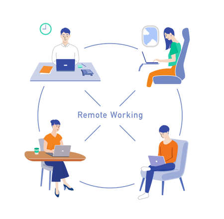 People doing remote work and telework