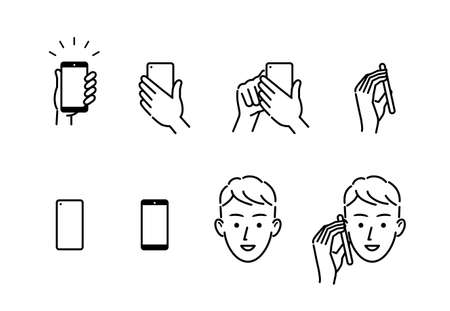 Smartphone and hand and person face icon