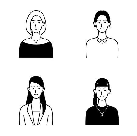 Illustration set of various women's upper body