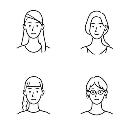 Illustration set of various women's face