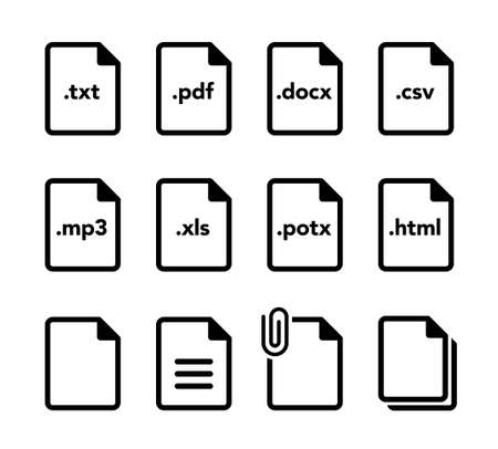 Document file format icon set