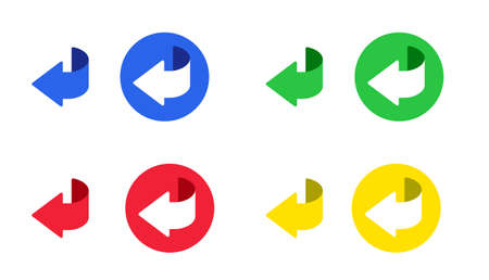 Set of arrow back icon and button