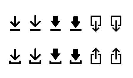 web icon of download and upload set