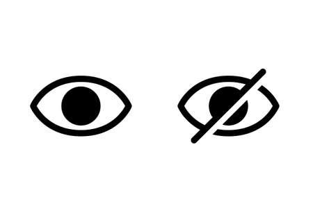 Hidden and visible eye icon set