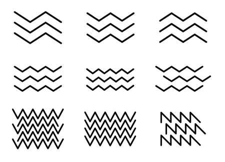 zigzag line wave pattern set