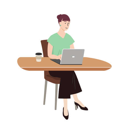 woman doing remote work in a cafe