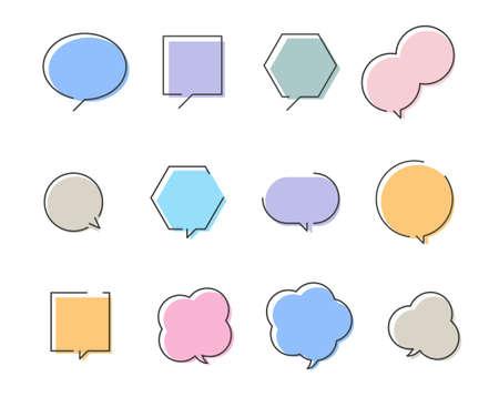 Colorful speech balloon design set 일러스트